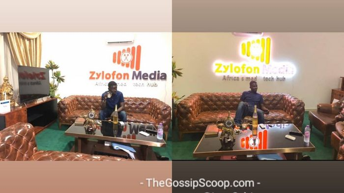 Current Photos Of NAM1 Fully Relaxed And Sipping Expensive Wine At Zylofon Media Head Office