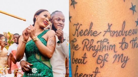 Keche Andrew's Boss-wife, Joana Gyan, Tattoos His Name With A Lovely Message On Her Arm