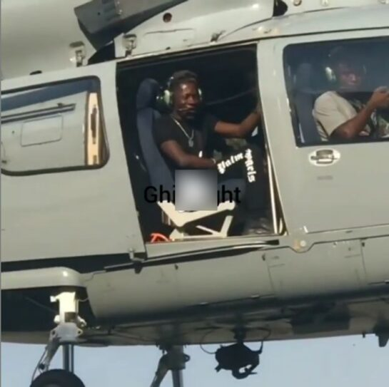 Shatta Wale Passes By The Accra Sports Stadium Ahead Of Cardi B's Show In A Military Helicopter